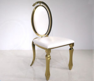 New Design Hotel Furniture Golden Events Used Dining Stainless Steel Chairs  In Oval Egg Back