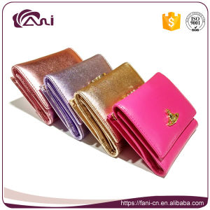 4 Color Bright Ladies Wallets, Sheep Skin Genuine Leather Small Wallet for Women pictures & photos