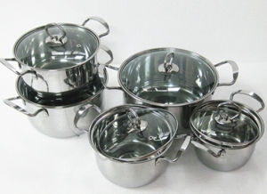 Stainless Steel 10PCS Cookware Set in Tempered Glass Lid