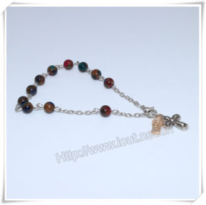 New Colourful Stone Beads Catholic Rosary Bracelet on Chain (IO-CB181) pictures & photos