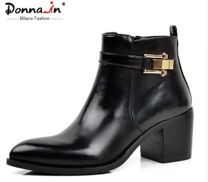 Lady Casual Pointed-Toe High Heels Shoes Buckle-Strap Leather Women Boots