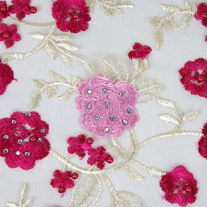 Red and Pink African Dry Lace Material pictures & photos