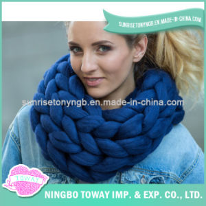 Wool Acrylicpolyester Warm Crochet Cotton Square Scarf pictures & photos