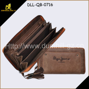Brown Leather Purse with Zipper