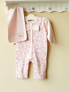 Pretty Long Sleeves Baby Romper with Towel, 100%Cotton Baby Bodysuit Age: 6-24m (1208032)