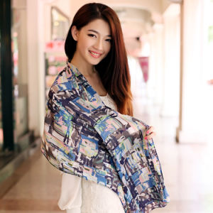 Digital Printed 100%Silk Fashion Shawl pictures & photos