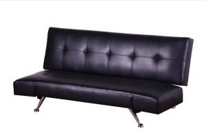 Modern PU Leather Convertible Sofa Bed with Chromed Legs & Headrest (LS-S20)