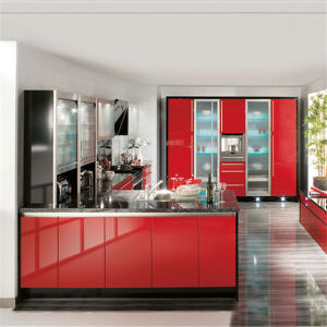 China Wine Red And Black Gloss Lacquer Kitchen Cabinet For Modern House China Modular Kitchen Cabinets Cabinet