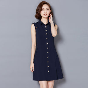 Short Sleeve Black Dress Fashion Ladies Office Dress pictures & photos