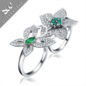 New Design 925 Butterfly and Flower Ring with Diamand Charm Gemstone Lady Ring