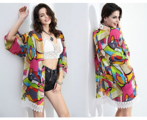 2016 Fashion Chiffon Kimono Top /Blouse for Ladies Print Cardigan pictures & photos