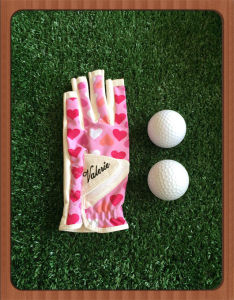 Print Spandex Synthetic Leather Ladies Golf Glove with Tee Holder