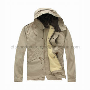 Khkai Hoody 100% Cotton Men′s Padding Jacket with Cap (MRDS805) pictures & photos