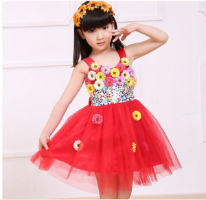 a778890d0 China Best Seller! Summer Flower Red Dresses for Lovely Girls ...