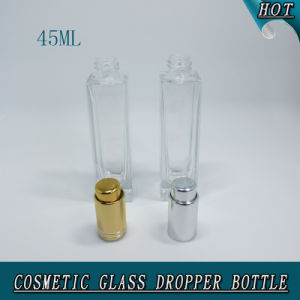 45ml Luxury Rectangle Clear Glass Silver Press Pump Dropper Bottle with Pipettes pictures & photos