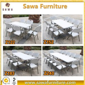Foldable Plastic Table Outdoor Table Round Table with Metal Tube pictures & photos