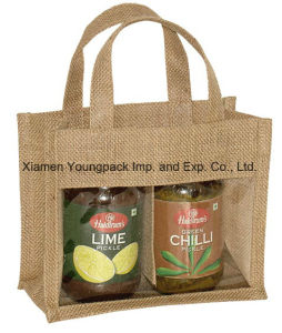 Promotional Custom Small 3 Window Natural Jute Jar Gift Bag pictures & photos