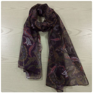 Black Printing on Polyester Chiffon Scarf