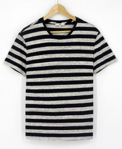 2017 Mens Cotton Yarn Dye Stripe Marl Round Neck Short Sleeve T-Shirts Clothes