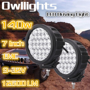 New IP68 Waterproof 7inch 140W Round LED Driving Light for off Road ATV Boat Truck