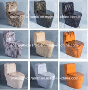 Ceramic Toilet One-Piece Water Closet Wooden Texture Color Toilet (A-007S) pictures & photos
