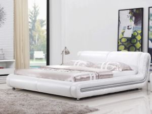 2015 New Leather Bed, Hot Sale Italy Bedroom Design, Single, Double, King