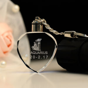 Heart Shape Crystal Keychain, LED Light Glass Keychain for Gifts pictures & photos