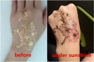 Beautiful Fashion Metallic UV Sensitive Color Changeable Temporary Tattoo