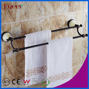 Fyeer Ceramic Base Black Bathroom Accessory Brass Double Towel Bars pictures & photos