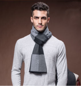 Men Fashion Winter Wool Nylon Acrylic Woven Warm Scarf (YKY4602) pictures & photos