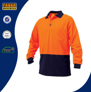 Orange Polyester Micromesh Hi Vis Workwear Safety Long Sleeve Polo Shirt