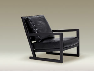 Unique Wood Frame Leather Leisure Chair Set for Home (LCS-004)