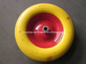Yellow Color Metal Rim PU Form Wheel (4.00-8) pictures & photos