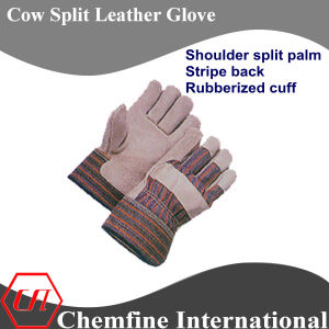 Shoulder Split Palm, Stripe Back, Rubberized Cuff Leather Work Gloves pictures & photos