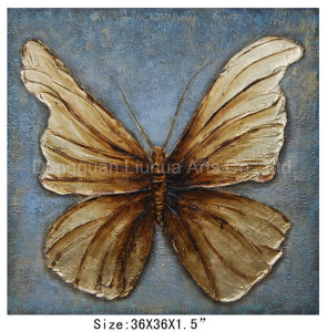 Modern New Design Hot Sell Golden Butterfly Oil Painting (LH-700586) pictures & photos