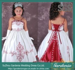 Green Lace up Back Kid Party Dress SGS Embroidery Flower Girl Dress (GDNY428)