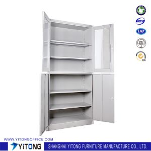 4-Door 2-Glass Door Metal Storage Cabinet / Office Use Steel File Cabinet pictures & photos