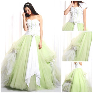 2012 Magnificent Beautiful Strapless A-Line Sheath Jacket Ruffle Flower Sash Tulle Satin Quinceanera Dress (QD-052)