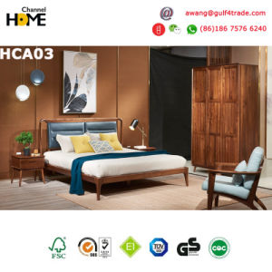 Country Style Oak Wood Bedroom Furniture Set Leather Bed (HCA03)