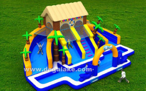 Inflatable Palm Tree Water Park Water Slide with Water Pool