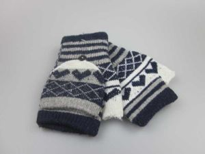 Winter Flip Knitted Wool Acrylic Gloves Fashion Accessory Half Finger Gloves with Pocket