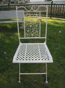 Astonishing Vintage Antique White Foldable Metal Outdoor Chair Ncnpc Chair Design For Home Ncnpcorg