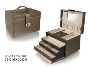 Fashion Design Brown Leather Jewelry Box with 3 Drawers Inside
