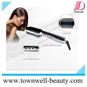 LCD Hair Straightener Brush with Ionic Function