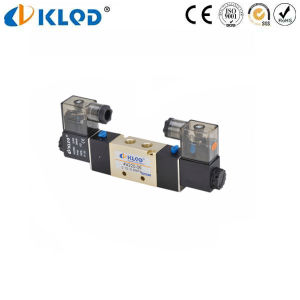 4V300 Series 5/2 Way Aluminum Solenoid Air Valve DC 12V pictures & photos