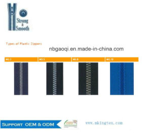 #5 Open-End Thin Resin/Plastic Zipper for Clothes in Stock pictures & photos