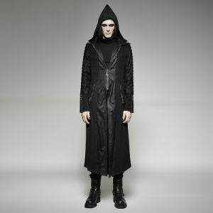 Y-707 Punk Rave Top Brand Heavy Punk Hooded Long Men Trench Coat