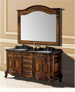 Classical Solid Wood Double Basins Bathroom Cabinet Al6307