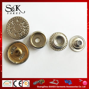 Shinny Silver Engrave Logo Metal Brass Jacket Type Snap Button for Garments