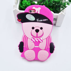 3D Cartoon Soft Hat Bear Silicone Phone Case for iPhone 6 6plus 7 7plus (XSDW-107)